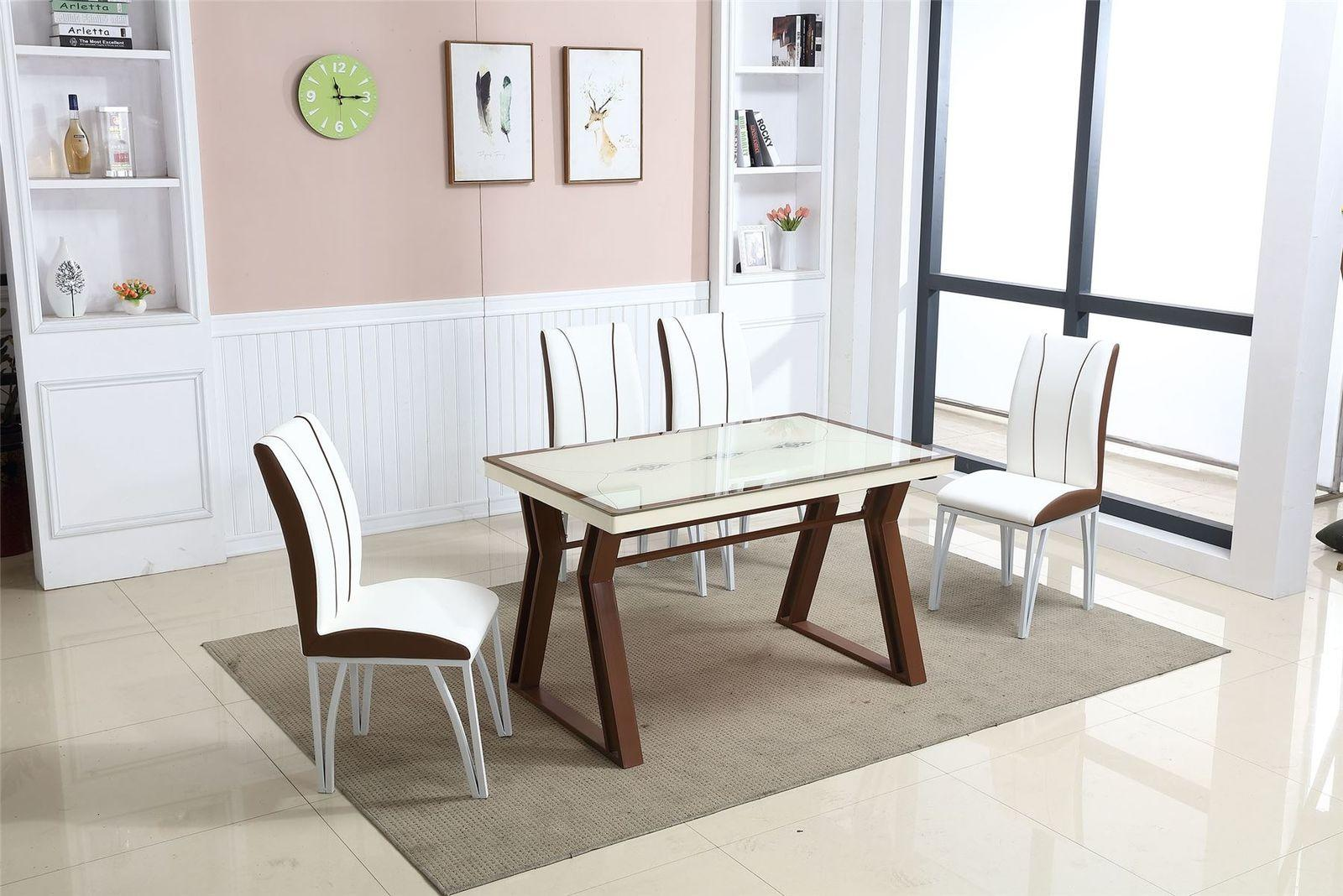 Leather Dining Set Table 4 Chairs Chrome Set Brown